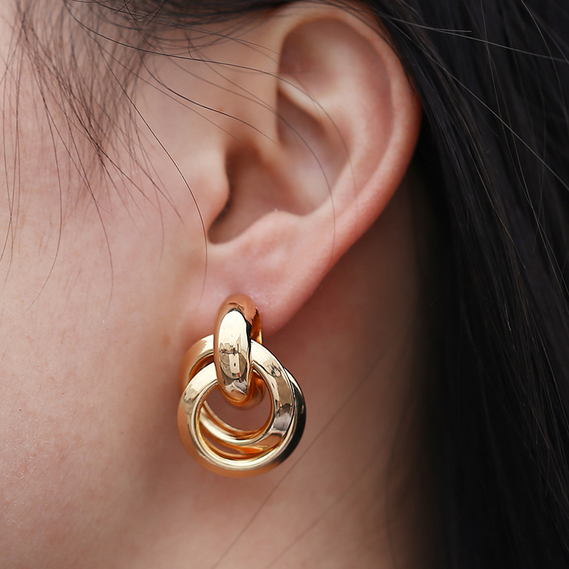 Flashbuy Gold Silver Alloy Drop Earrings For Women Exaggeration Earrings Wedding Simple Fashion Jewelry Trend Accessories 2