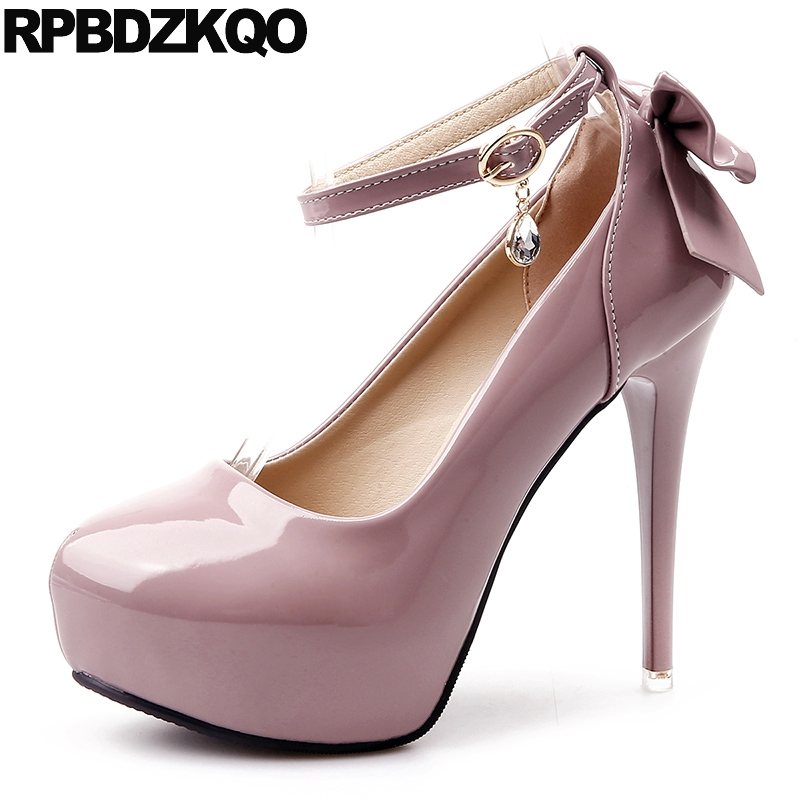 Ultra 12cm 5 Inch Stiletto Chic Strap Metal Rhinestone Platform Bow Ankle Pink Women Patent Leather High Heels Shoes China ultra chic pубашка