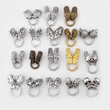 1set Antique Silver Skull / Dragon Head Lock Spring Round Cord Clasps Connectors End Caps For Charm Bracelet DIY Jewelry Making