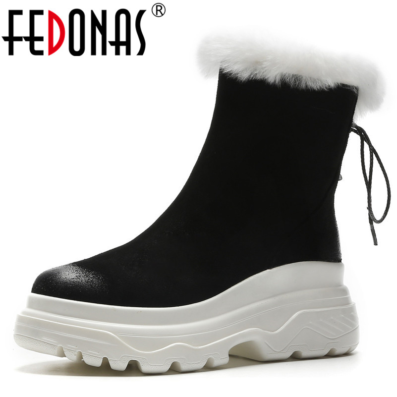 FEDONAS New Women Warm Snow Boots Wedges High Heels Platforms Winter Shoes Woman Ladies Round Toe Punk Martin Basic Boots