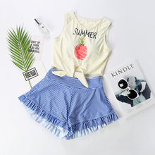 Swimwear Women Biquini Infantil Swimsuit Conservative Small Chest Belly Thin Cover Gather Lovely Fresh Fragrant Female Students staerk 2017 sale korean girl female swimsuit conservative thin cover belly bikinis three piece split student boxer movement