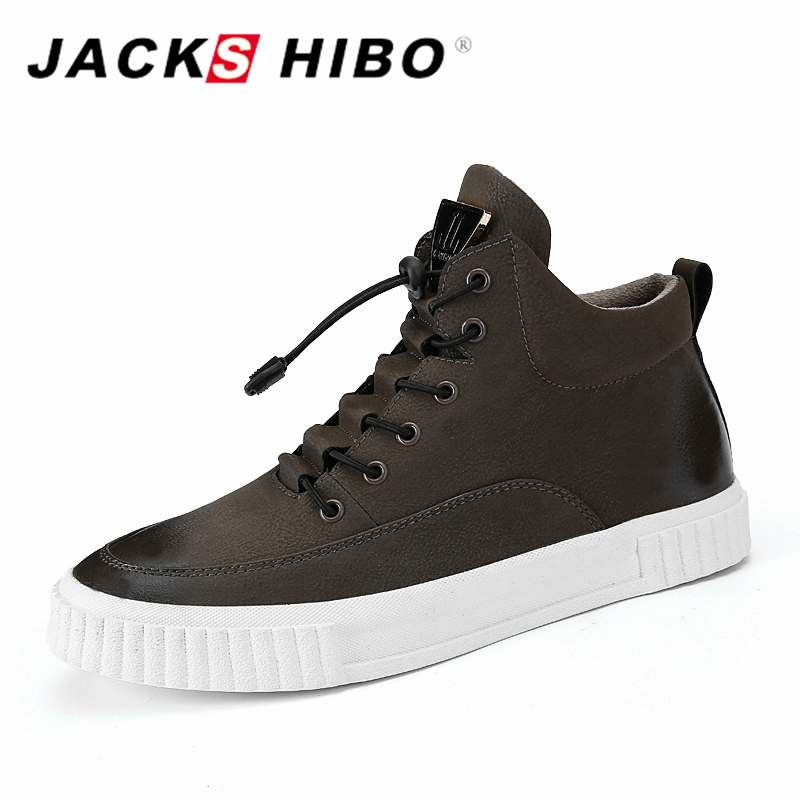 JACKSHIBO 2018 New design Men's Shoes Sneakers Men High Top Flats Shoes Male Footwear Zapatillas Hombre Casual Fashion Boots casual dancing sneakers hip hop shoes high top casual shoes men patent leather flat shoes zapatillas deportivas hombre 61