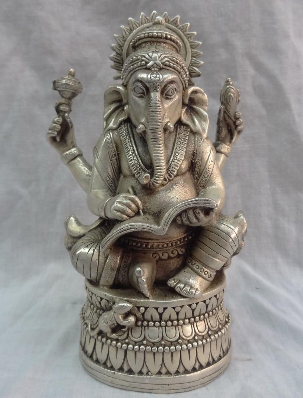 2160 tibet silver 4 arms ganapati ganesh lord ganesha buddha brass