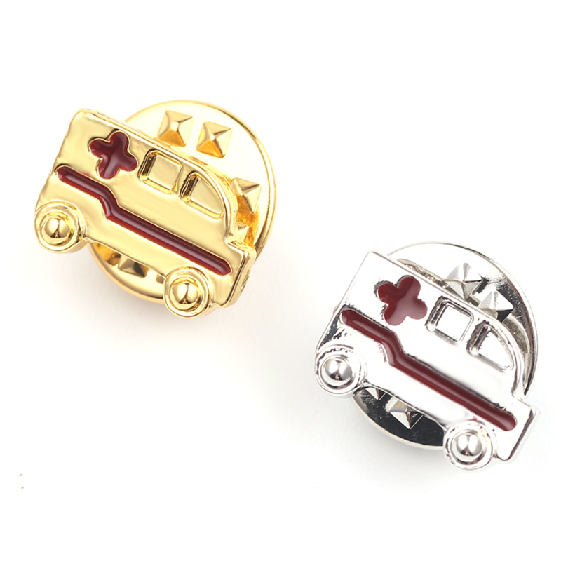 Ambulance Brooch Tiny Metal Gold Color Red Cross Doctor Nurse Lapel Pins Badge Medical Jewelry Gifts for Medical Students
