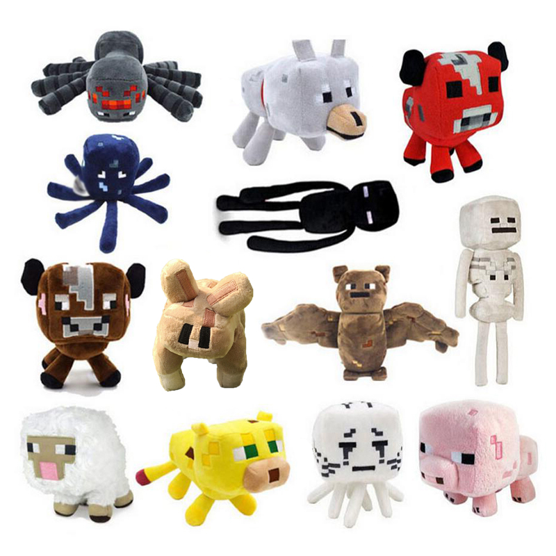 Minecraft Plush Toys 16-26cm Minecraft Creeper Enderman Wolf Steve Spider Sketelon Plush Stuffed Toys for Kids Baby Toys ALLtype