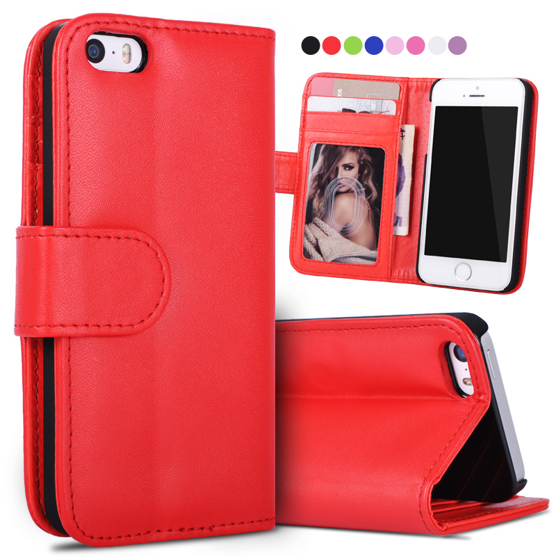 Stand Wallet Case For iPhone 4S PU Leather Card Slot Flip Phone Cases Cover For iPhone 4S 5 5s 6 6s Plus 7 7 Plus Case Coque