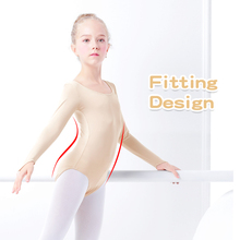 Girls Nude Slimming Leotard Gymnastics Skating Long Sleeve Bodysuit Kids Costumes Dance Leotards