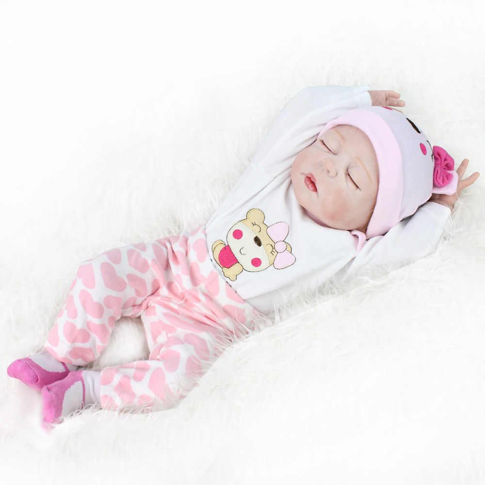 22 polegada completa silicone reborn bebê boneca lifelike dormindo menina crianças reborn bebês presente de aniversário da criança bonecas realistas banhar brinquedos