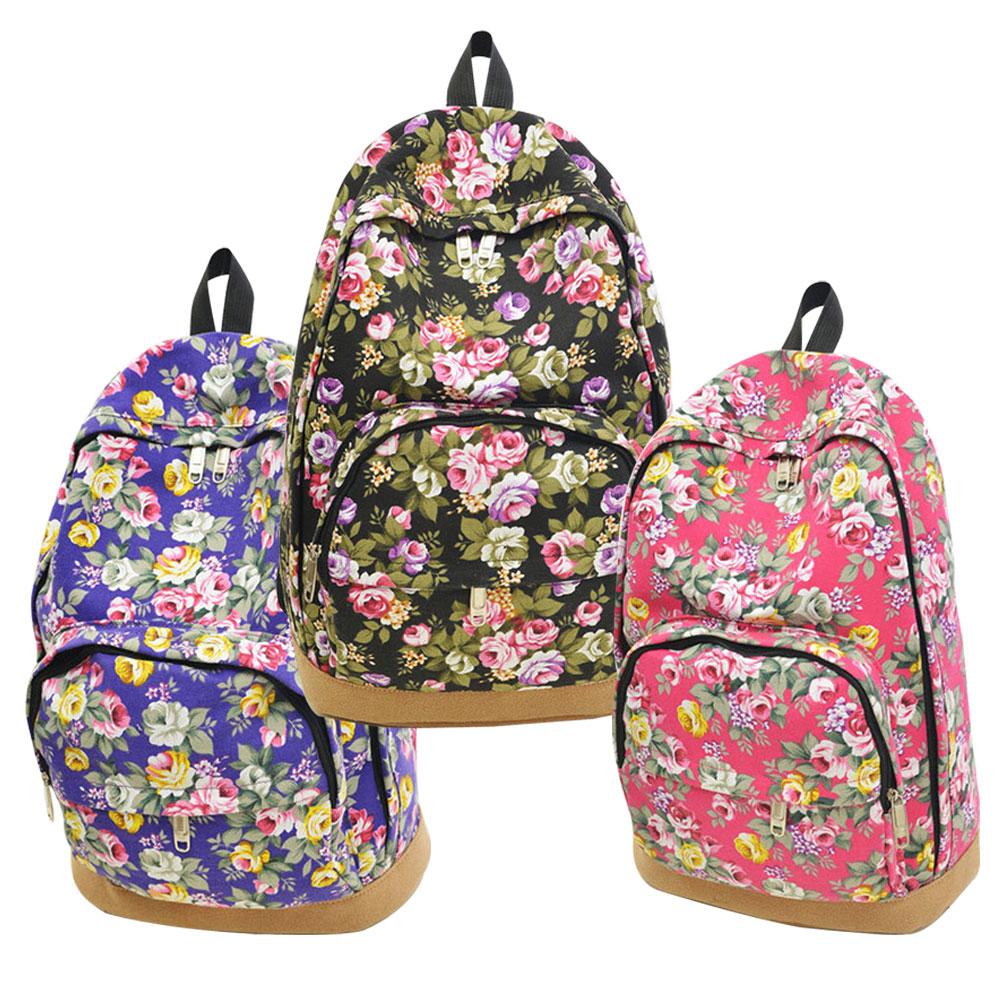 Satchel Backpack School-Bag Floral Travel Rucksack Canvas Women's Rose LT88 Hobo Retro