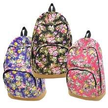2015 Ретро Женская холст путешествия рюкзак Хобо школа сумка рюкзак розовый цветочный LT88