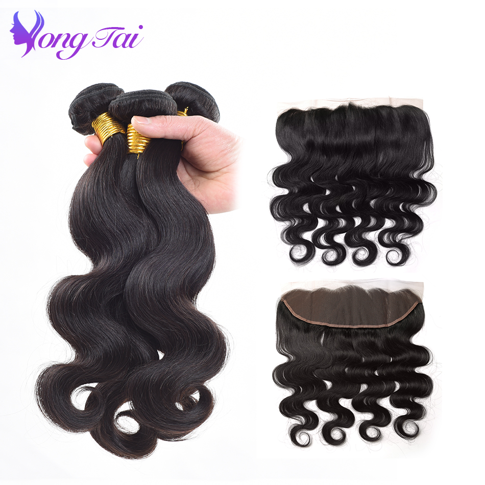 Yuyongtai Indian Hair Body wave Bundles with Frontal 13*4 Lace Frontal Closure With Bundles 4 Bundles Free Shipping Tangle free