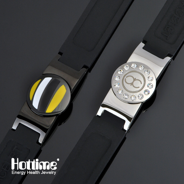 Hottime 4 in 1 Bio Elements Energy Bracelet DIY Power Disc Magnetic Silicone Bracelets Bangles For Men And Women Balance Bands