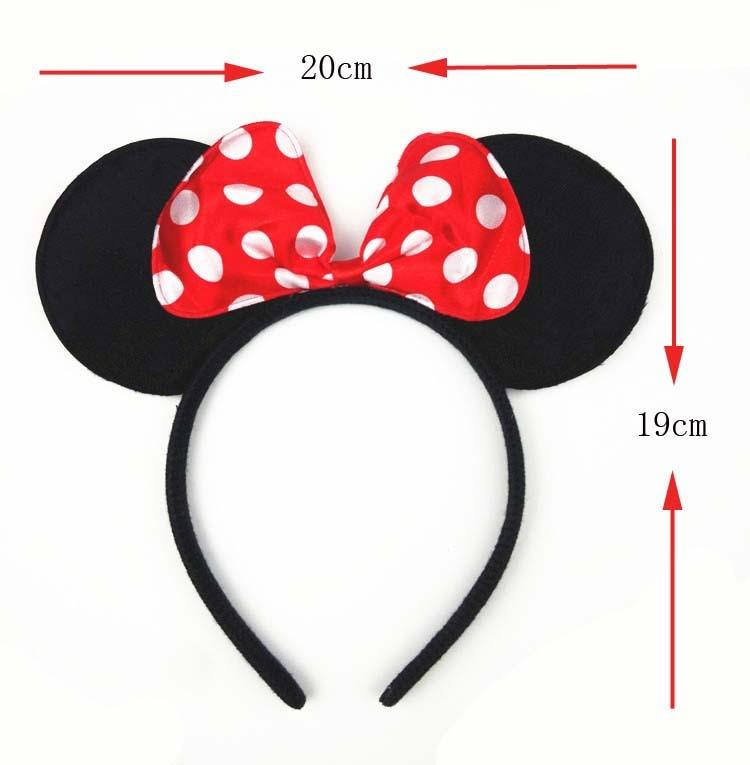10 unids/lote Minnie Mickey Mouse Ears Diademas Negro Rojo Polka Dot ...