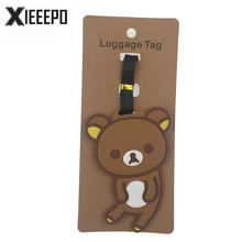 Cartoon Small Bear Luggage Tag Travel Accessories Women Silica Gel Suitcase Address Holder Baggage Boarding Tag Portable Label(China)