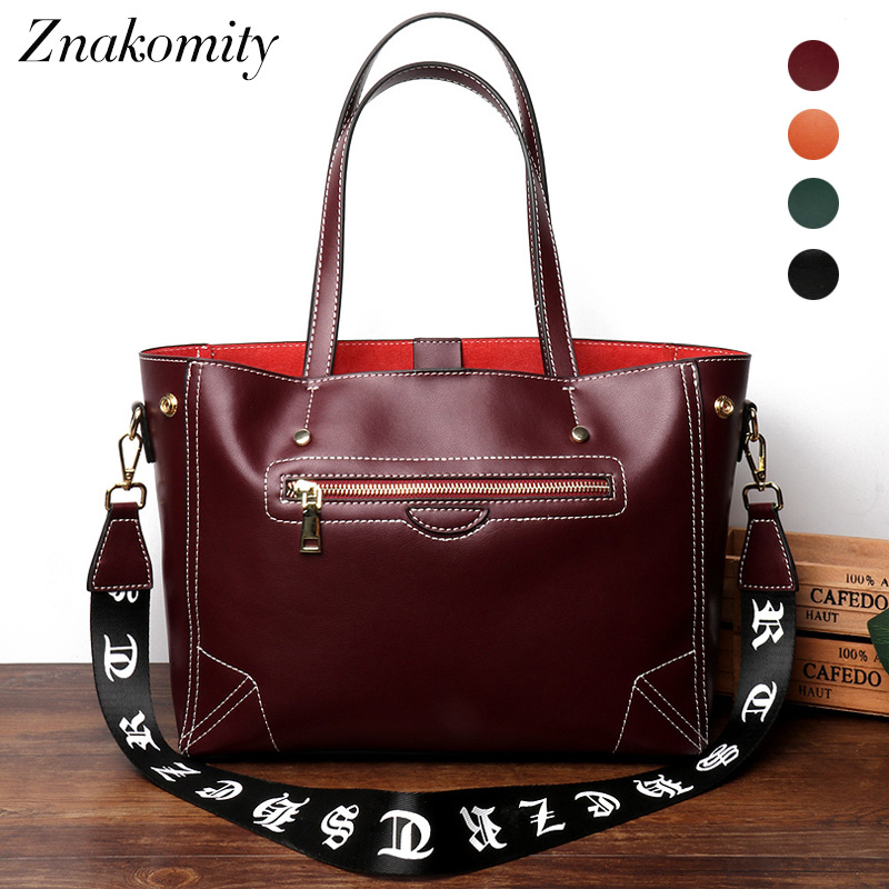 Znakomity large Genuine leather tote bag fashion Luxury women handbags top-handle Ladies hand bags women messenger shoulder bags znakomity new shoulder bag real women s genuine leather handbag wine red fashion brown black tote bag top handle hand bags women