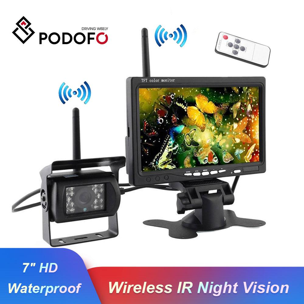 """Podofo built-in sem fio ir visão noturna à prova dwaterproof água vista traseira sistema de câmera + 7 """"monitor hd para rv caminhão reboque ônibus"""