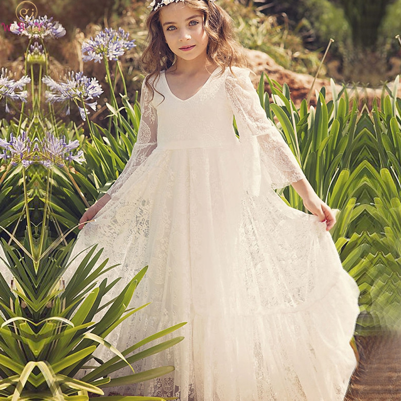 Lace Flower Girl Dresses Ivory 2020 Three Quarter Sleeves A Line Long Primera Communion Flower Girl Dresses For Weddings Vestido