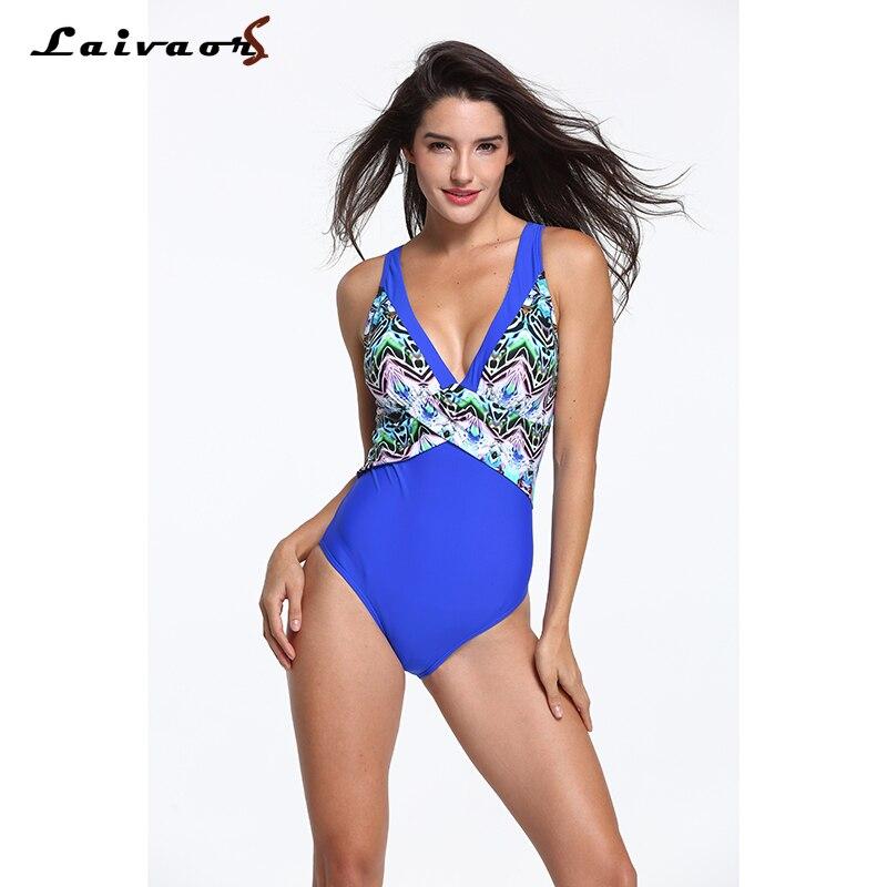 2018 New Arrival One Piece Swimsuit Women Vintage Bathing Suits Plus Size Swimwear Padded Print Black Patchwork Beach Bikinis 6X