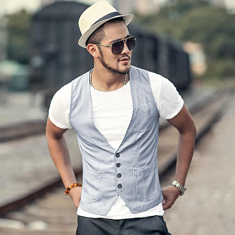 exclusive deals where can i buy buy cheap gilet homme costume casual linen slim fit dress suit vest men Single  breasted Vintage sleeveless waistcoat men new vest M66