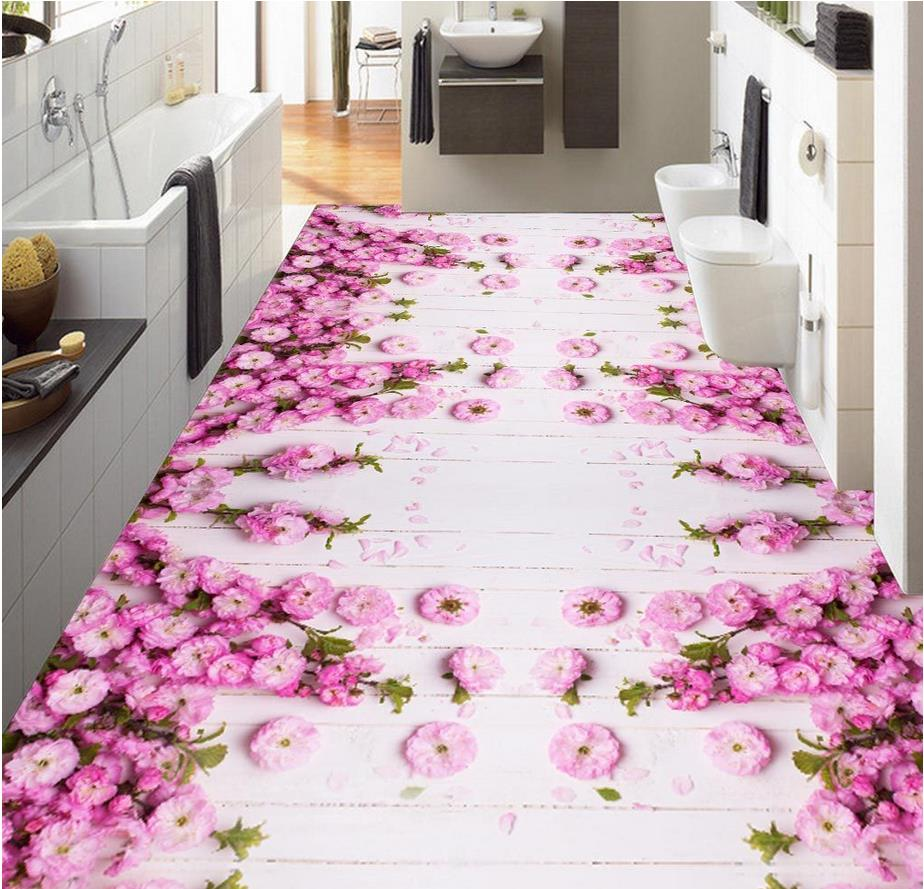 Buy beautiful pink flowers 3d floor tiles for Online floor