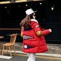 2016 Новая Мода Зима Женщины Рисунок Длинный Хлопок Свободные Пальто большой Код Длинные Хлопка мягкой Женской Одежды Куртки B180