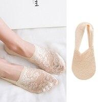 Для женщин обувь для девочек дышащие Цветочные кружевные короткие носки невидимое нескользящее покрытие лодыжки носки