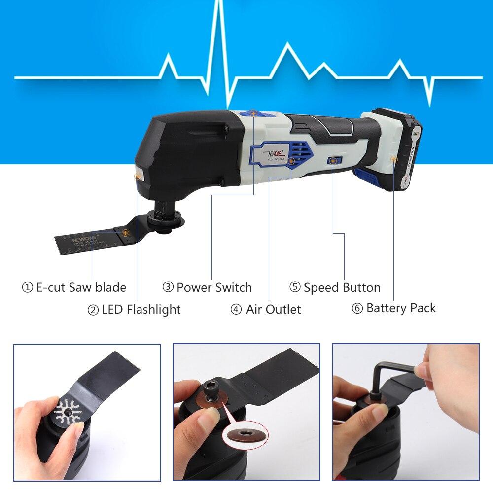 NEWONE 12V 2000mAh Li-ion multifonction Kit d'outils oscillants multi-outils outil électrique tondeuse électrique accessoires de scie