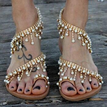 Women Sandals Bohemia Summer Shoes Woman String Bead Flat Sandals For Beach Shoes Female Plus Size Flip Flop Chaussures Femme