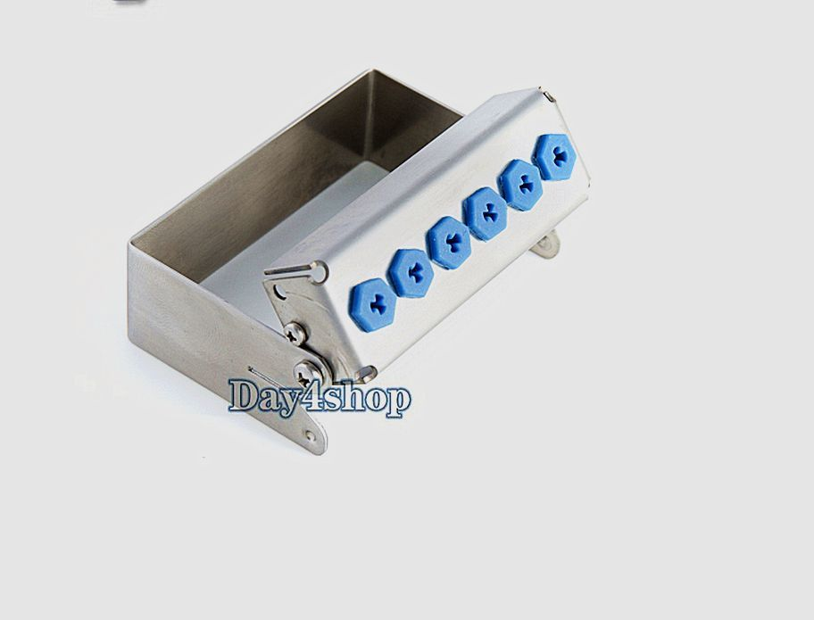 Dental 6holes Stainless Disinfection Case for Implant Drills HP RA FG Bur Tool dental special bur for soft tissue and implant for cut dental papilla hyperplastic tissue lift gingival or implant position