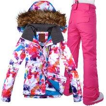 2017 GSOU SNOW Brand Women Ski Jacket+Pant Windproof Waterproof Outdoor Sport Wear Skiing Snowboard Super Warm Female Suit Set