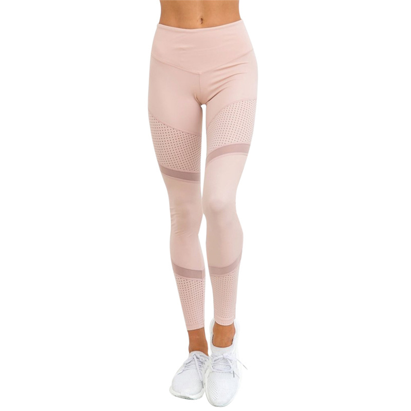 Fashion Mesh Stitching Sporting Leggings Women Casual Skinny Pants High Waist Workout Leggings Push Up Female Pink Slim Leggings