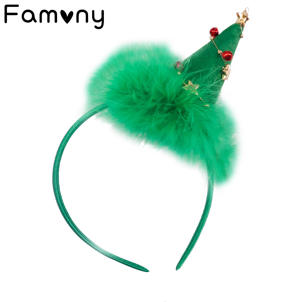 Christmas Gift Hairband Feather Hat  Antler Green Tree Headband Bell Hair Hoop Party Xmas Decoration Girls Kid Hair Accessories