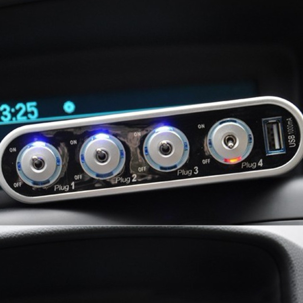 Car Cigarette Lighter Socket 4 Port in 1 Unit USBPort Car Cigarette Lighter Socket Splitter 12V/24N Charger Power Adapter