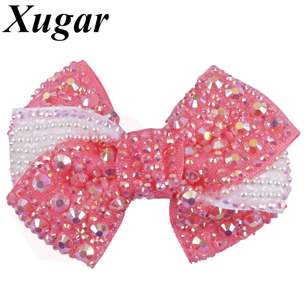 цена на 2 Pcs/Lot 4'' Ribbon Hair Bow For Girls Sweet Boutique Rhinestone Alligator Clips Pearl DIY Hair Accessories