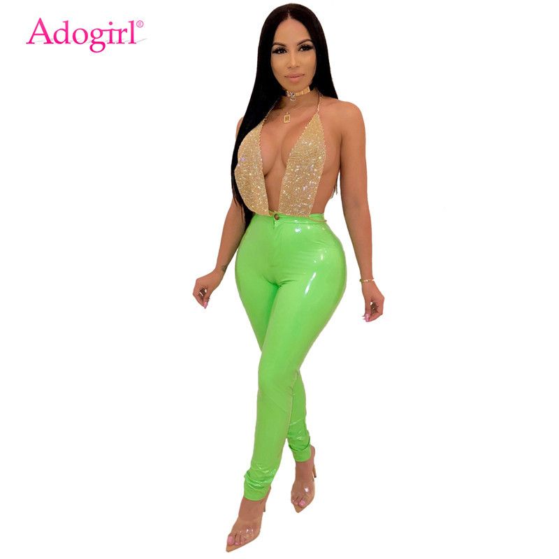 Adogirl New Colors Solid PU Leather Pants Highly Stretchy Thicken Fleece PU Trousers Women Fashion Casual Pencil Pants Leggings