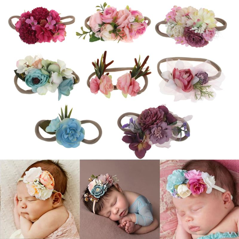 Princess Flower Headband Newborn Baby Boy Girl Artificial Floral Photography Prop Hair Accessories Infant Headwear