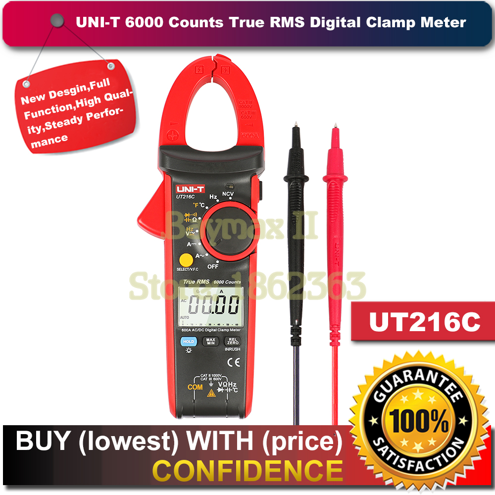 цены на UNI-T UT216C 600A True RMS Digital Clamp Meters Auto Range with Frequency Capacitance Temperature & NCV Test в интернет-магазинах