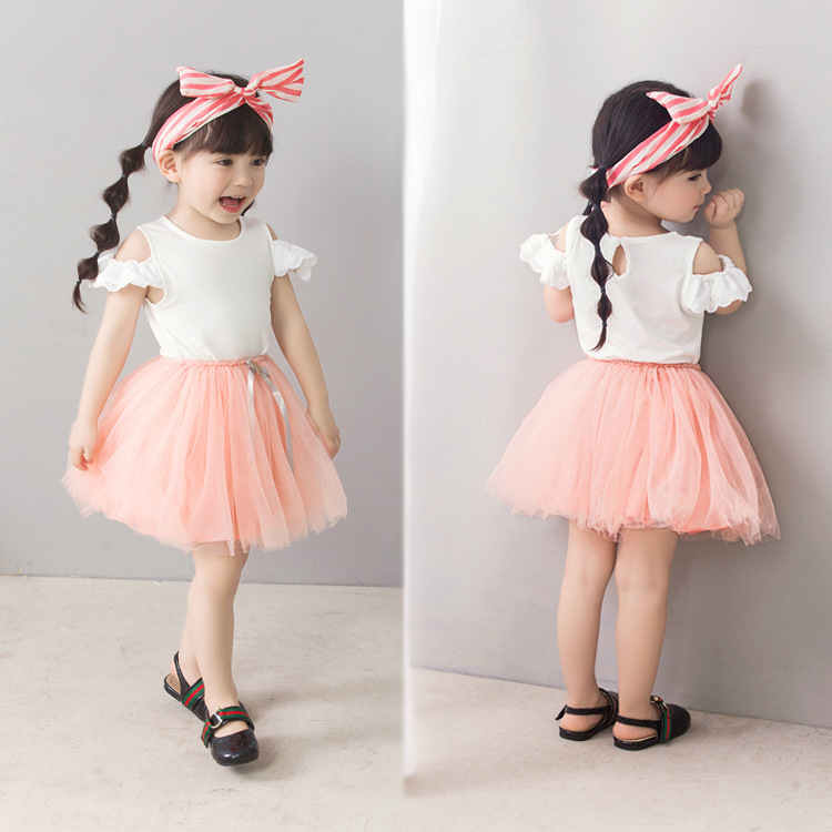 Summer 2018 girl bare shoulder T shirt lace solid color T shirt children Korean baby short sleeve blouse ins children wear