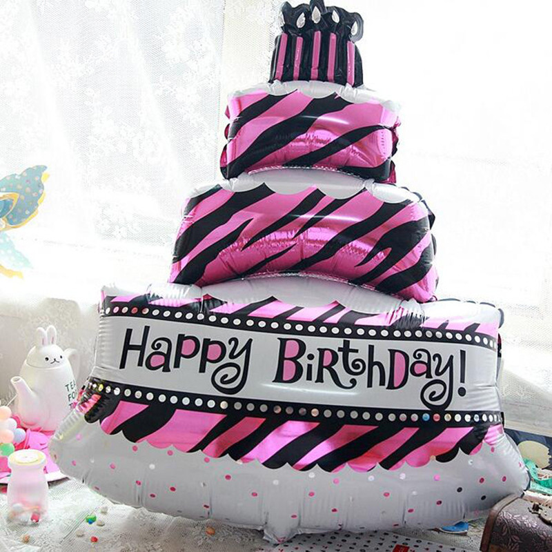 1pcs/lot Big Three Layers Birthday Cake Balloons Baby Girl