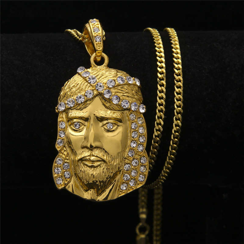 Punk Style Jesus Crystal Link Necklaces for Best Friend Hiphop Gold Chain CZ Statement Necklace Male Neckless Collier Femme