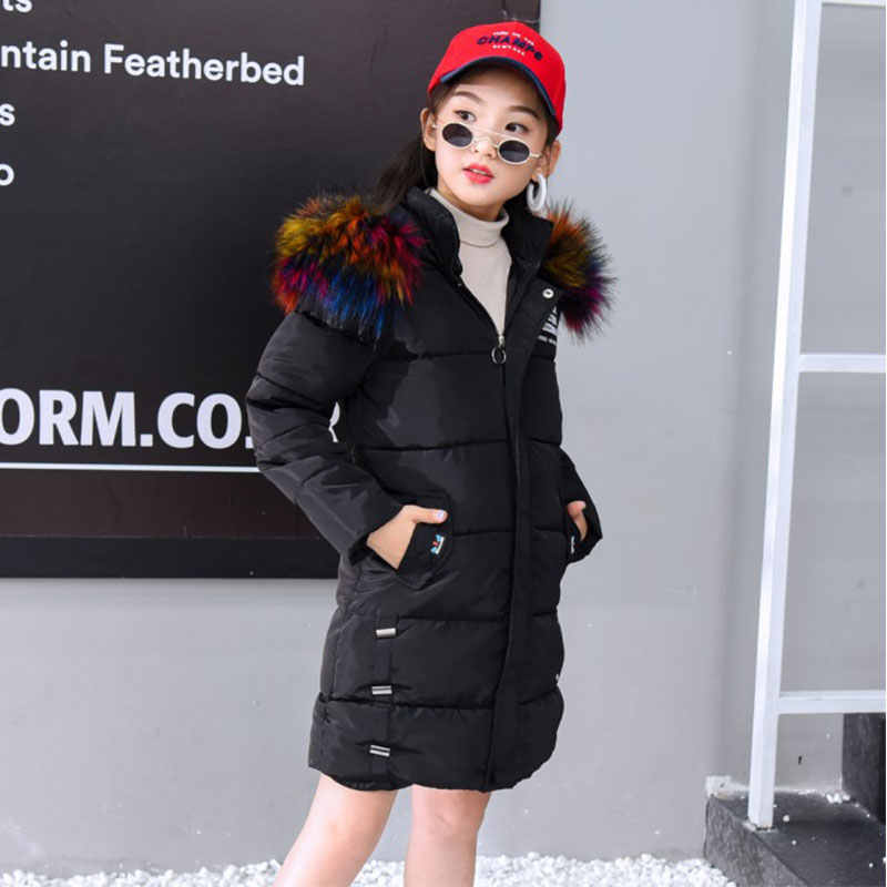 Winter Jacket Girl Coat Purple Cute Hooded Colored Fur Collar Size 7 8 9 10 11 12 13 14 Years Child Clothes Thick Outerwear