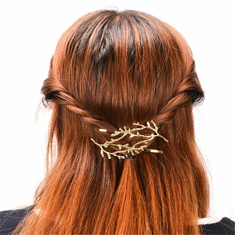 Vintage Emas Perak Pohon Rambut Klip Girls Paduan Cabang Jepit Rambut Fashion Hairgrips Wanita Elegan Logam Aksesoris Rambut untuk Wanita