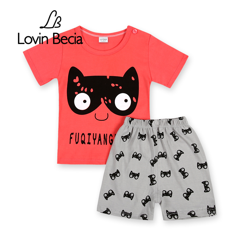 2 pcs/ set Summer boys clothing sets Baby girls clothing children T-shirt pants Kids cotton shorts Cartoon Casual Sport suit