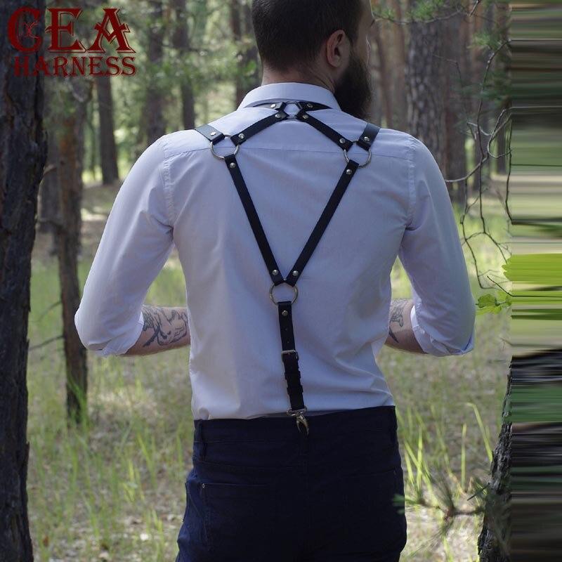 CEA.HARNESS Leather Harness Men Bdsm Arness Gay Leather Harness Chest Mature Body Bondage Back Straps   Belts   Adjustable