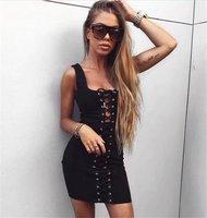 Momoluna 2017 Woman summer bodycon lace up sleeveless vestidos ukraine party dresses elbise robe femme jurken casual dress s m