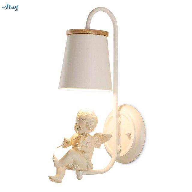 Детская комната скрипки Ангел настенные лампы для спальни Гостиная прохода современный светильник настенные бра светильники Свадебные прикроватные светильники