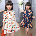 Girls Summer Spring Puff Sleeve Rose Flowers Dress Baby Clothes Princess Girl Kids Party Birthday Wedding Dresses For Girls