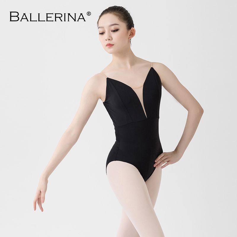 Ballet Leotard Women Aerialist Practice Dance Costume Deep V Sling Black Gymnastics Leotard Adulto Ballerina 5039