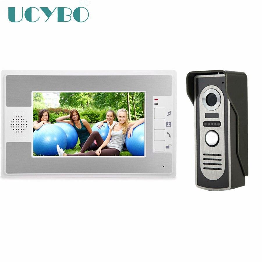 7 Wired Video Intercom video door phone doorphone doorbell intercom system for home apartment W/ waterproof IR door camera