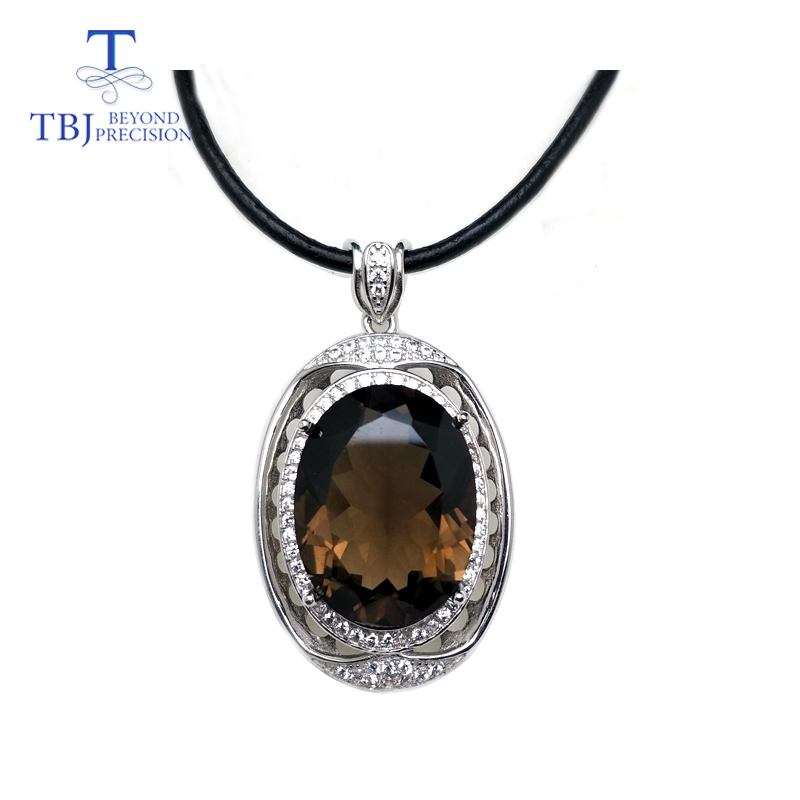 TBJ ,luxury natural smoky quartz pendants in 925 sterling silver gemstone jewelry with leather cord best gift for women girlsTBJ ,luxury natural smoky quartz pendants in 925 sterling silver gemstone jewelry with leather cord best gift for women girls